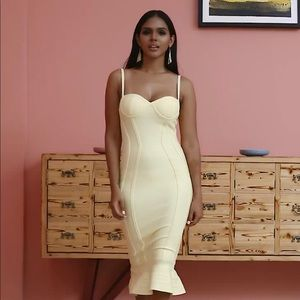 Yellow Bandage Mermaid Dress